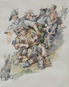 "Rudolf BLUM - Zeichnung Aquarell - ""The Brave Bunny"", Watercolor, 1920's"