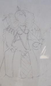 Lucien COUTAUD - Drawing-Watercolor - La reine