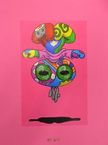 Viktoria VEISBRUT - Drawing-Watercolor - Vikita Enlightened (on Pink)