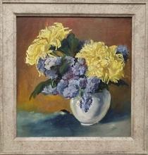 """Robert HEINRICH - Pintura - """"Flower Still Life"""" by Robert Heinrich, Oil Painting"""