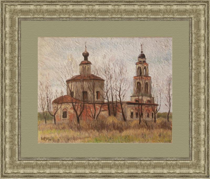 Valeriy NESTEROV - Painting - Church in Manikhino village. Moscow region