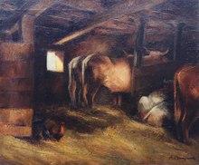 Pierre BOMPARD - Peinture - L'étable