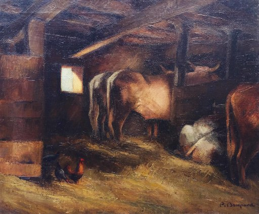 Pierre BOMPARD - Painting - L'étable