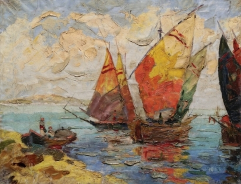 Georges LAPCHINE - Pittura - Boats