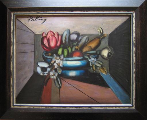 Franz PRIKING - Pittura - Compotier aux fleurs et aux fruits