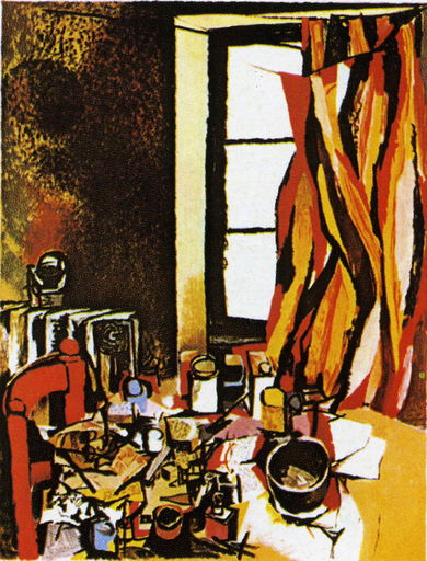Renato GUTTUSO - Stampa-Multiplo - Interno dello studio con finestra e tavolo da lavoro