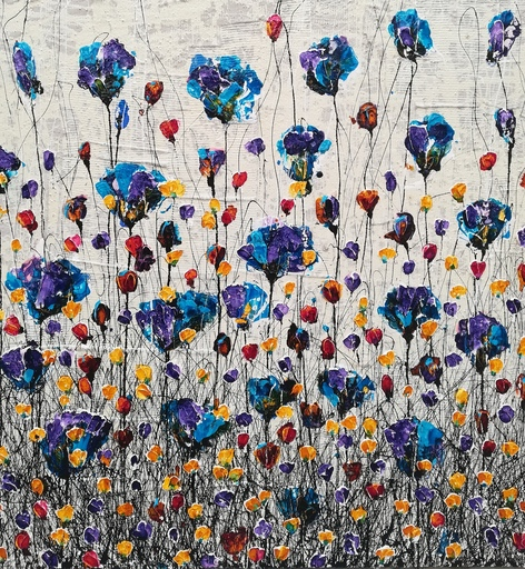 Donatella MARRAONI - Painting - Poppies and friends II
