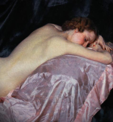 Maurice JORON - Pittura - Nu couché au drap rose