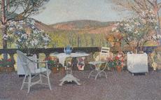 Henri MARTIN - Pintura - L'Heure du Thé sur la Terrasse de Marquayrol