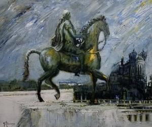 Gilbert PECOUD - Painting - La statue de Louis XIV