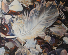Ute MEYER - Gemälde - At the beach /feather on seawweed and pebbles)