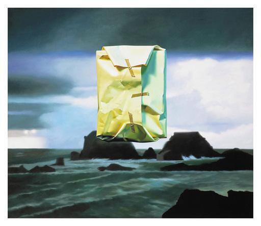 Yrjö EDELMANN - Grabado - Flashlighted floating parcel in stormy ocean and sky