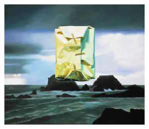 Yrjö EDELMANN, Flashlighted floating parcel in stormy ocean and sky