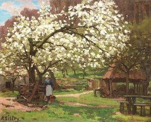 Alfred SISLEY - Painting - Printemps, paysanne sous les arbres en fleurs