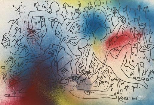 Mark KOSTABI - Drawing-Watercolor - Festa senza fine