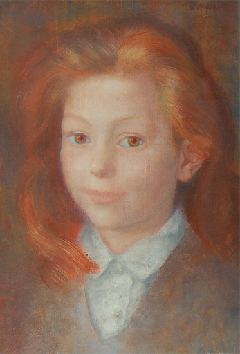 Lucien-Philippe MORETTI - Painting - Portrait Of Young Girl With Red Hair