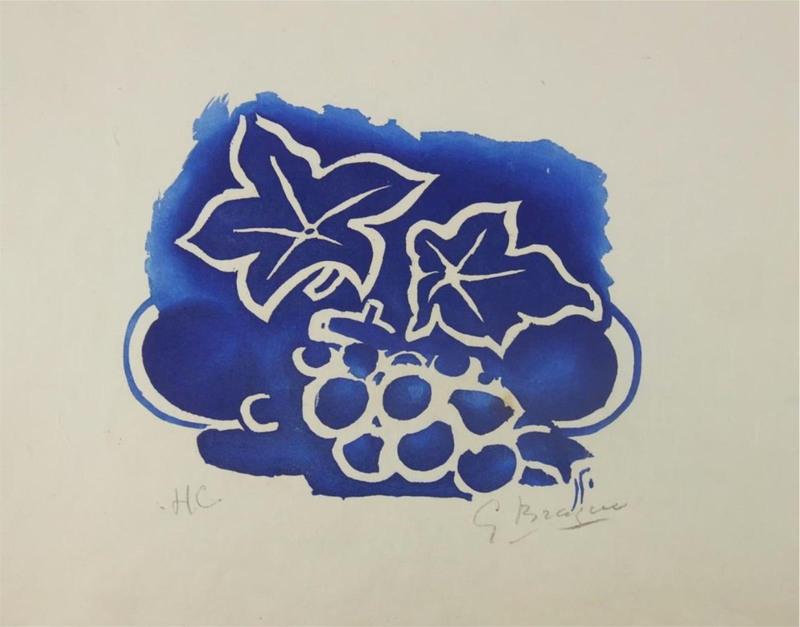 Georges BRAQUE - Grabado - Feuille et raisin