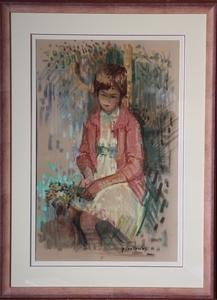 Paul COLLOMB, jeune fille au bouquet