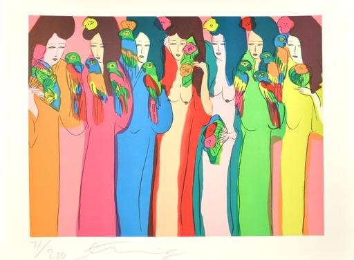 丁雄泉 - 版画 - Geishas aux Perroquets