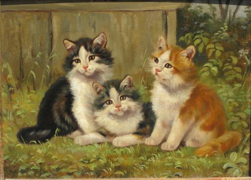 Benno KÖGL - Pintura - Drei Kätzchen