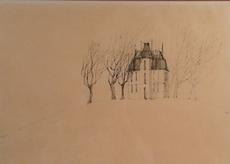Paul FLORA - Drawing-Watercolor - Haus mit Bäumen