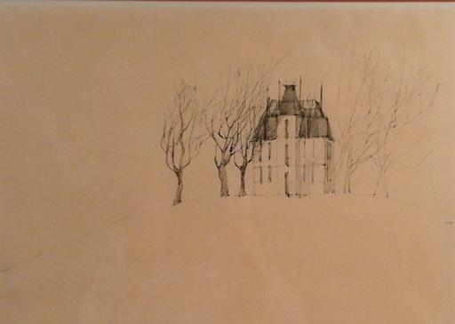 Paul FLORA - Dibujo Acuarela - Haus mit Bäumen