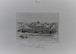 Lucien SEEVAGEN - Grabado - Ile de Bréhat, le phare du Paon