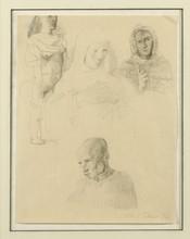 Pavel TCHELITCHEW - Drawing-Watercolor - Etudes: Tetes de Personnages