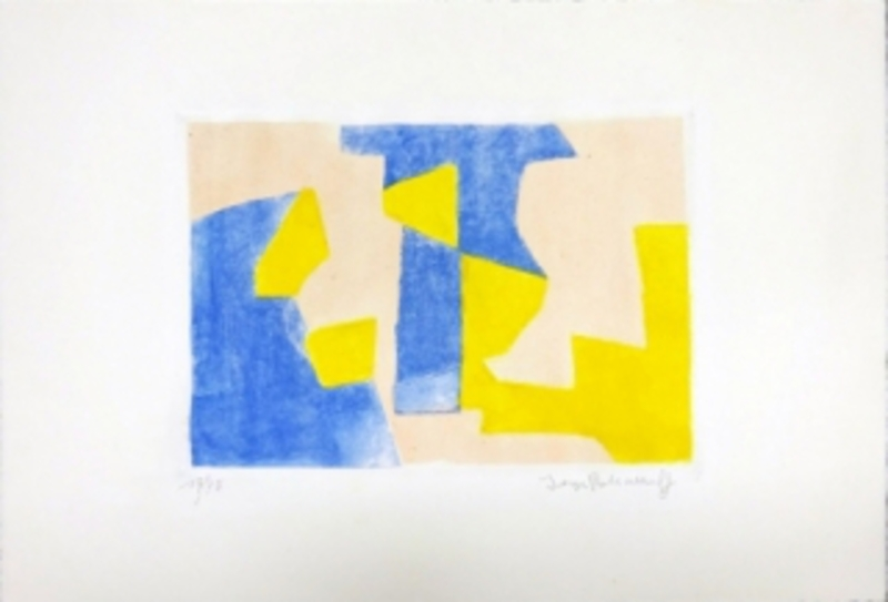 Serge POLIAKOFF - Print-Multiple - Composition Bleue rose et jaune