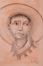 Diego RIVERA - Dessin-Aquarelle - Untitled (Portrait of a Young Boy)