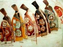 "Boris Israelewitsch ANISFELD - Drawing-Watercolor - Costumes for five Boyars ""Snow Maiden"""
