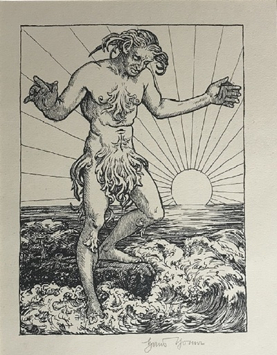 Hans THOMA - Estampe-Multiple - Wassermann I (Meermann)