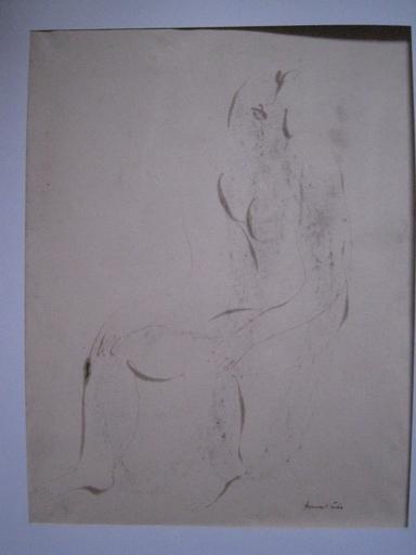 Jean FAUTRIER - Dessin-Aquarelle - FEMME NUE  CIRCA 1940