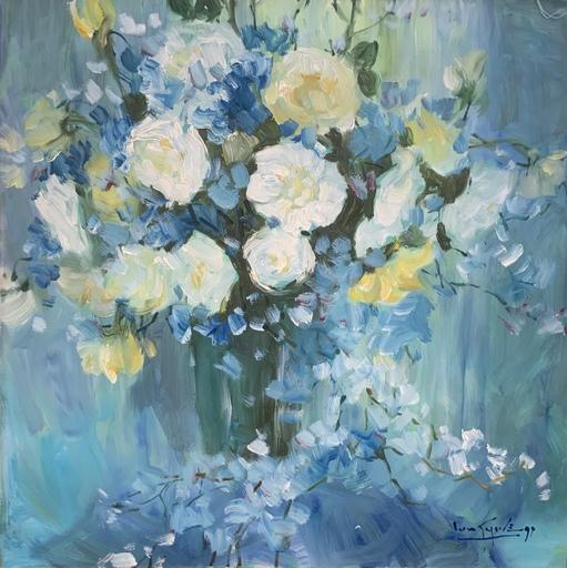 Lun Gywe U - Pintura - Flowers in blue