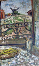 Mikhail LARIONOV - Pintura - Still life with the background of the landscape