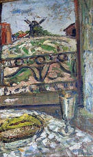 Mikhail LARIONOV - Painting - Still life with the background of the landscape