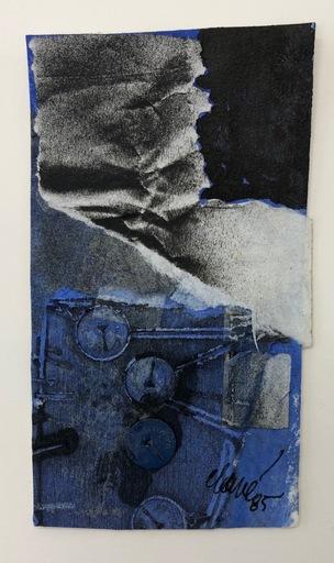 Antoni CLAVÉ - Drawing-Watercolor - Monotype et collage a la punaise bleue