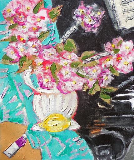 Jean-Pierre CHEVASSUS-AGNES - Peinture - les fleurs de cerisier japonais