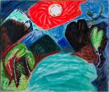 André MASSON - Peinture - Soleil levant au-dessus d'un torrent