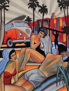 Stéphane GISCLARD - Painting - Venice beach L.A
