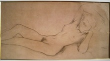 "Léon BAKST - Drawing-Watercolor - Female nude. Study for painting ""Dream"""