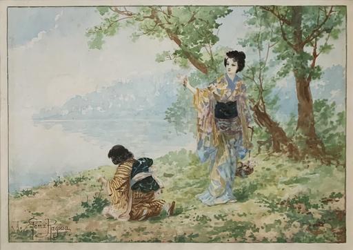 Eleonora RAGUSA - Disegno Acquarello - Fanciulle giapponesi in riva al lago