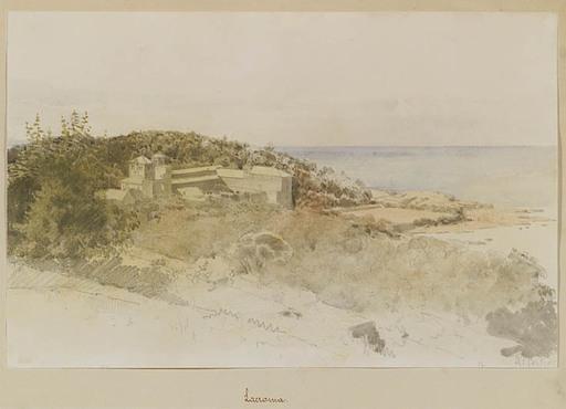 Anton PERKO - Zeichnung Aquarell - Motive of Lacroma, late 19th Century