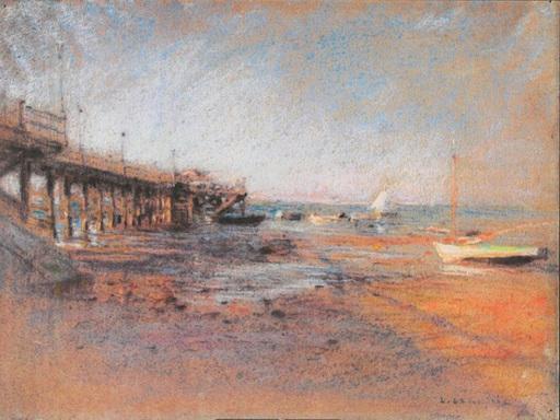 Léon Augustin LHERMITTE - Dibujo Acuarela - Jetée à marée basse