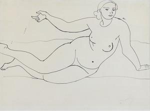André DERAIN - Zeichnung Aquarell - Nu