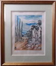 Hermine DAVID - Drawing-Watercolor - LE BERGER ET SES MOUTONS