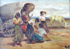 Marcel DYF - Peinture - Tsiganes - Gitans -  Gypsy