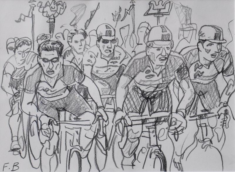 François BOISROND - Disegno Acquarello - Le peloton