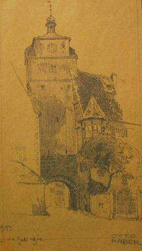 Otto NABER - Dessin-Aquarelle - Rothenburg o/T.