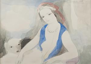Marie LAURENCIN - Drawing-Watercolor - Jeune fille au chien